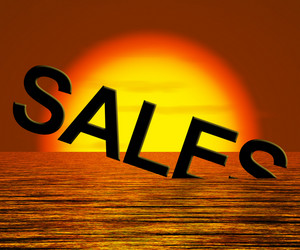 Sales Word Sinking Showing Reduced Income And Profit
