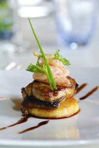 Salmon steak on dish