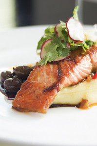 Salmon steak serve on white dish