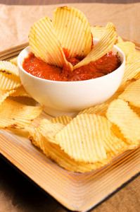 Salsa Sauce And Potato Chips