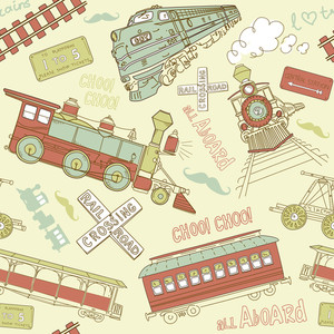 Samles Pattern Vintage Trains And Railroad Doodles