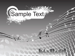 Sample Text On Balck Musical Background