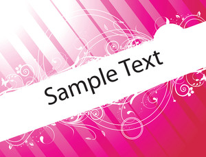Sample Text On Red And Pink Gradient Background With Floral Elements