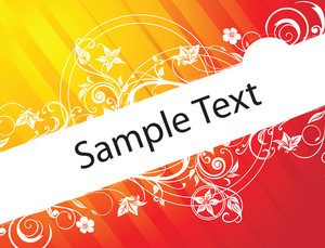Sample Text On Red And Yellow Gradient Background With Floral Elements
