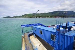 Samui boat port on blue sky background