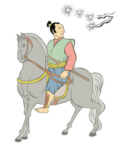Samurai Warrior Riding Horse