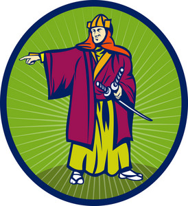 Samurai Warrior With Katana Sword Pointing Side