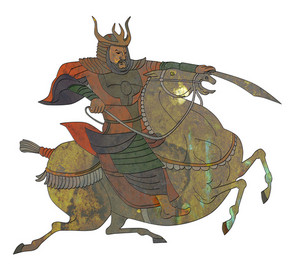 Samurai Warrior With Sword Riding Horse