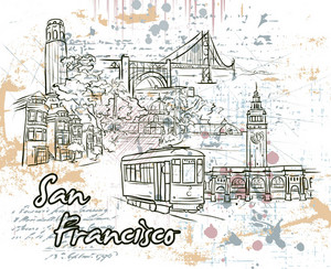 San Francisco Doodles With Grunge Vector Illustration