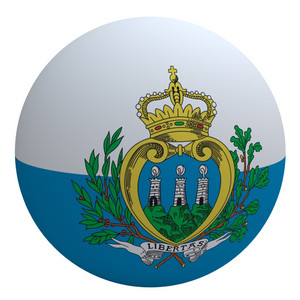 San Marino Flag On The Ball Isolated On White.