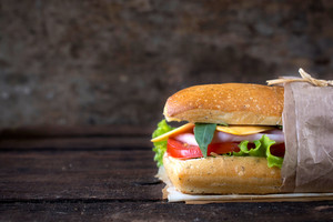 Sandwich On Wooden Background