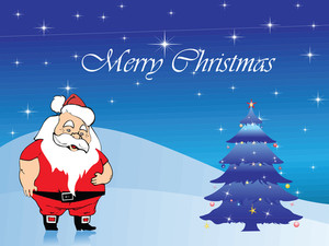 Santa Celebrating Christmas To Decorate Tree
