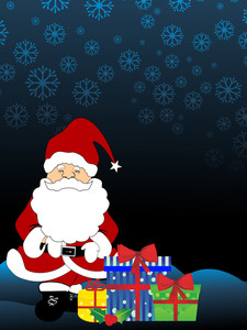 Santa Claus And Colorful Gift Box