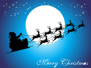 Santa Claus And His Sleigh Isolated On Blue