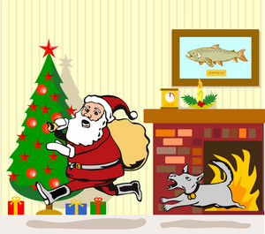 Santa Claus Chased By Dog