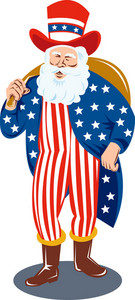 Santa Claus Dressed In American Flag Stars And Stripes