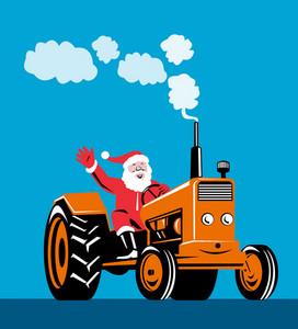 Santa Claus Driving Tractor
