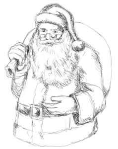 Santa Claus Front Sketch Bw