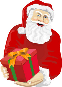 Santa Claus Giving A Gift