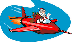 Santa Claus On Airplane