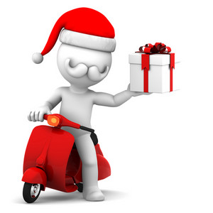 Santa Claus On Scooter Holding Gift Box