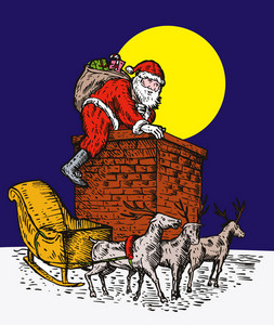 Santa Claus Over Chimney
