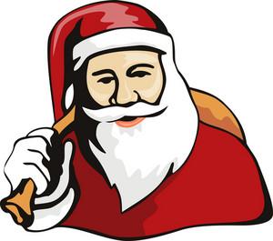 Santa Claus Retro Style White Bg Only