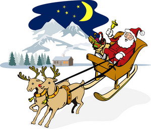 Santa Claus Riding Sleigh Front1