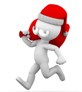 Santa Claus Running With Bag Full Of Gifts