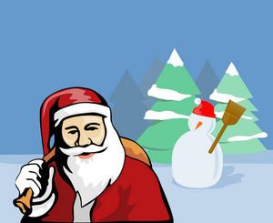 Santa Claus Snowman In Bckgrnd