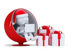 Santa Claus Working On Laptop Computer