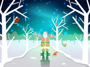 Santa Clause On Winter Night