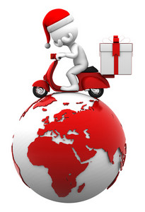 Santa Driving Scooter On Top Of The Earth. Delivery Concept