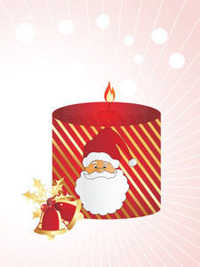 Santa Style Candle With Bells