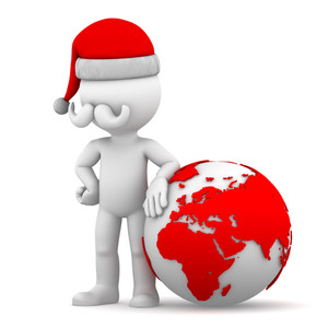 Santa With Earth Globe