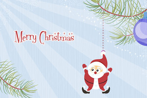 Santa With Rays Vector Illustration