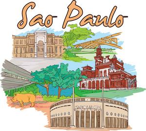 Sao Paulo Vector Doodle