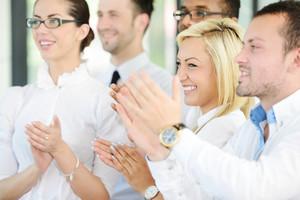 Satisfied group in business meeting