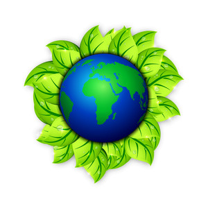 Save Earth Background With Globe And Green Leaves.