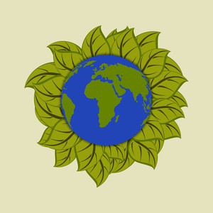 Save Earth Concept With Globe And Green Leaves.