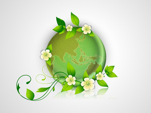 Save Earth Concept With Globe And Green Leaves