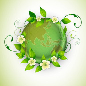 Save Earth Concept With Green Leaves And Flowers