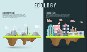 Save ecological infographic layout or lemplate with illustration of urban city showing causes of pollution.