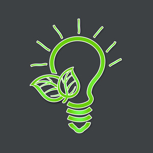 Save Energy Concept With Electric Bulb And Green Leaves