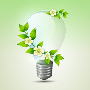 Save Energy Concept With Green Leaves And Electric Bulb