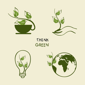 Save Nature Concept With Diffrent Nature Icons And Text Think Green