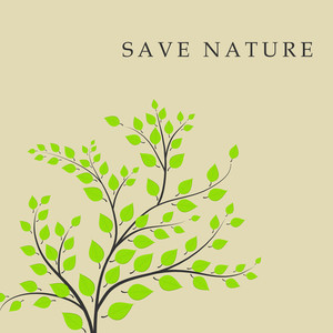 Save Nature Concept With Green Leaves And Eco Peopple