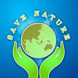 Save Nature Concept With Human Hands Holding Globe On Blue Background