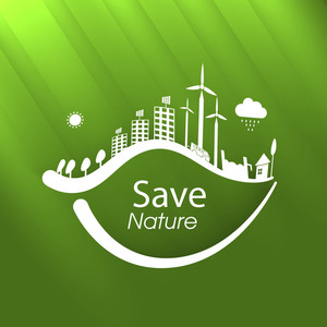 Save Nature Concept With Urban City Design With Tree Leaf On Shiny Nature Background.