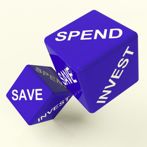 Save Spend Invest Dice Showing Money Choices